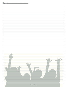 Kids Cheering Lined Paper