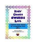 Kids' Choice Award List