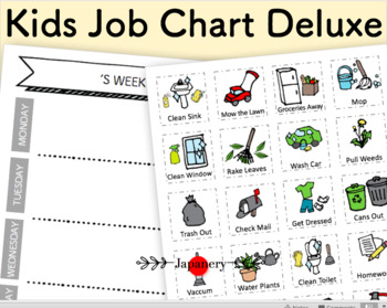 Kids Chore Routine Chart Deluxe DIY Set [Printable] Daily, Weekly, 20 Day