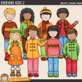 Kids Clip Art 2 (Autumn / Fall Kids)