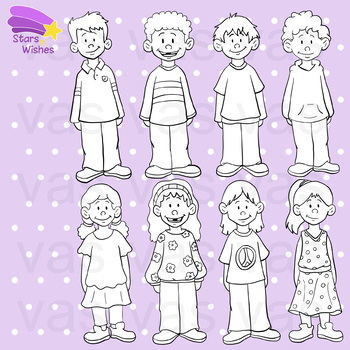 Kids Clip Art : Color and Line Illustrations