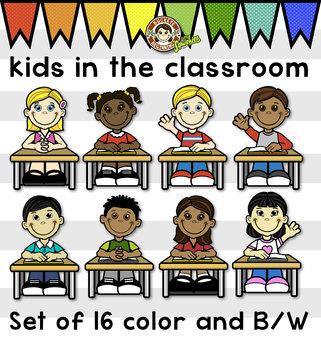 Kids Clip Art Bundle -  In The Classroom - Desks