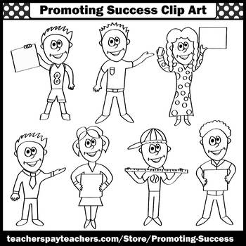 Kids Clip Art, Children Clipart, Kids with Signs & Rulers, Commercial Use SPS