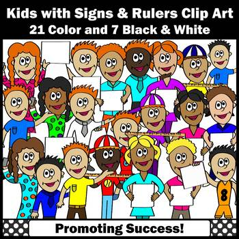 Kids with Signs Clipart Commercial Use Multicultural Children Images SPS