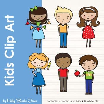 Kids Clip Art Colored & Black and White