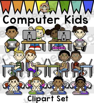 Kids Clip Art - Computer Kids - Clipart