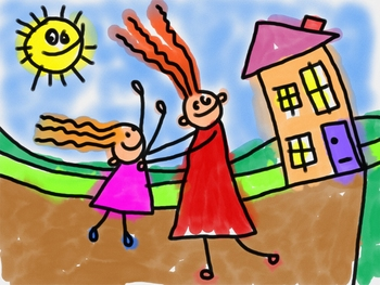 Kids Clip Art Family Home and Garden Doodle