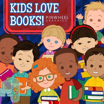 Kids Clip Art-Kids Love Books
