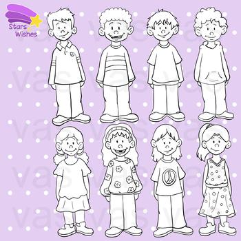 Kids Clip Art Line Art