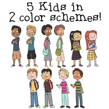 Kids Clip Art | Middle Age | Middle School | Cartoon Kids Clipart | Older Kids