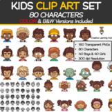 Kids Clip Art Set (160 Images|80 Characters|Color + B&W)