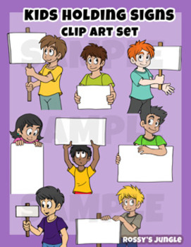 Kids Clip art: Holding signs miniset