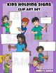 Kids Clip art: Holding signs miniset