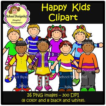 Happy Kids Clip Art (School Design)