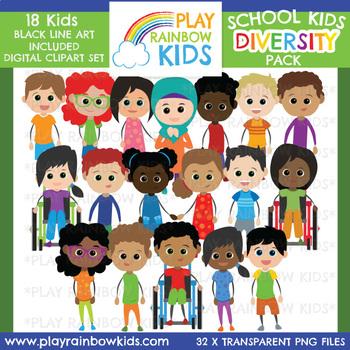 Kids Diversity Clipart Bundle