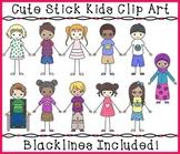 Kids Clipart - Cute Stick Kids Clipart