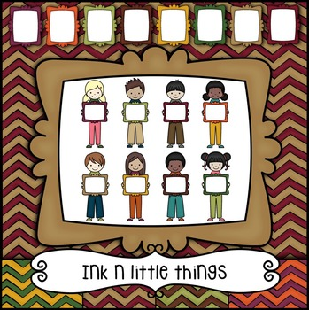 Kids Clipart - Fall Kids with Matching Frames & Papers