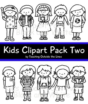 Kids Clip Art Pack Two Black and White
