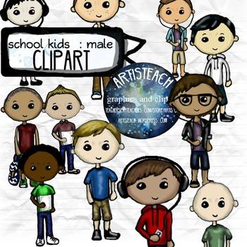 Kids Clipart - School, Boys, Male - 24 Clip Art Teens