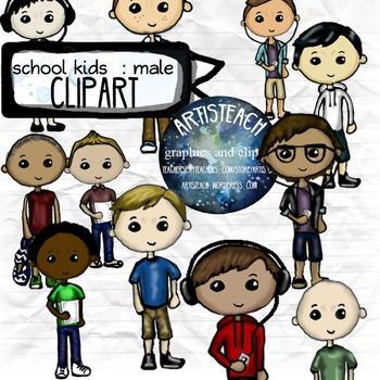 Kids Clipart - School, Boys, Male - 24 Clip Art Teens