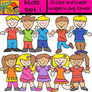 Kids - Clipart Set #1 - Blond and Dark Kids - # 30 Items