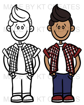 Kids Clipart Set (Boys & Girls) - 20 Images B&W and Full Color {KT Creates}