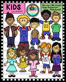 Kids Clipart Set (Boys & Girls) - 20 Images B&W and Full C