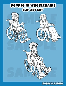 Kids Clipart set: people in wheelchairs