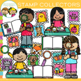 Kids Collecting Stamps Clip Art