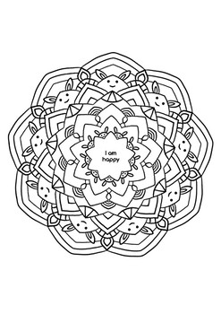 Mindful Coloring Page With Positive Affirmation Printable A4