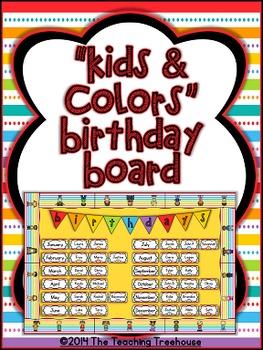 """""""Kids & Colors"""" Birthday Bulletin Board Kit"""