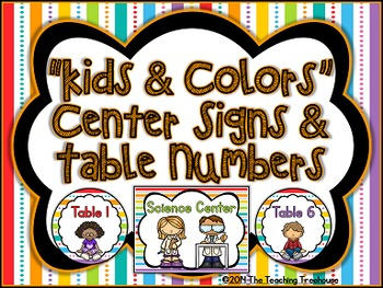 """Kids & Colors"" Center Signs & Table Numbers"