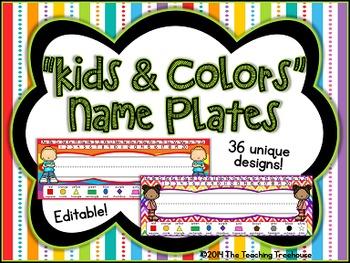 """Kids & Colors"" Editable Desk Name Plates"
