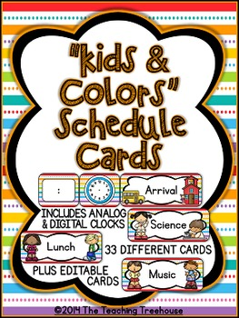 """Kids & Colors"" Schedule Cards"