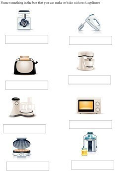 Learning about Kitchen Tools and Appliances Worksheets - Cooking with Kids