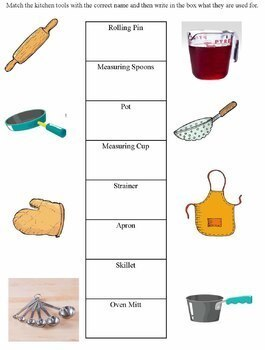 Learning About Kitchen Tools And Appliances Worksheets