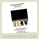 Kid's Costumes Printable Halloween Party Invitation 1