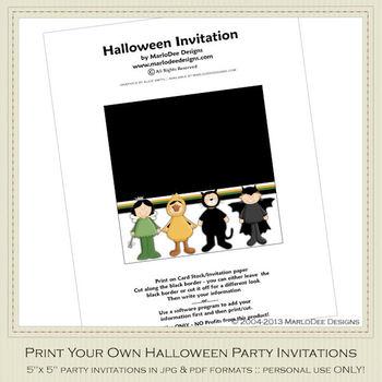 Kid's Costumes Printable Halloween Party Invitation 1