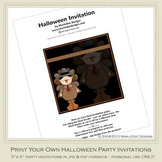 Kid's Costumes Printable Halloween Party Invitation 2