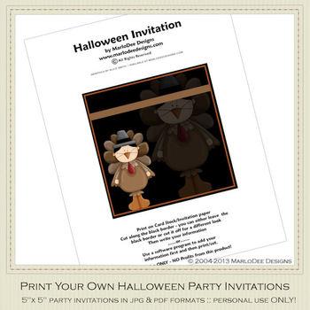 Kid's Costumes Printable Halloween Party Invitation 2