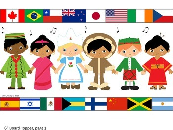 Kids & Countries - World-wide/Multi-Cultural Music Borders - Children and Flags