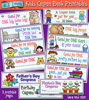 picture about Printable Coupon Book called Little ones Coupon Reserve Printable Down load