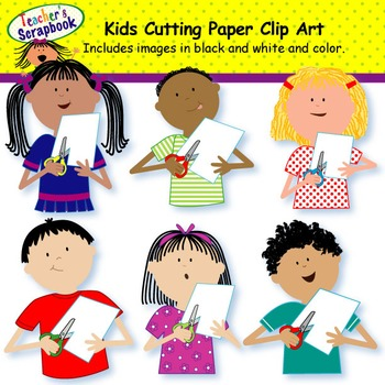 Kids Cutting Paper Clip Art