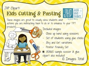 Kids Cutting & Pasting Clipart