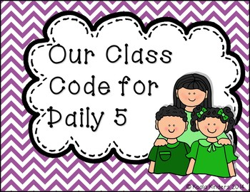 Kids Daily Five and Center Time Code Posters