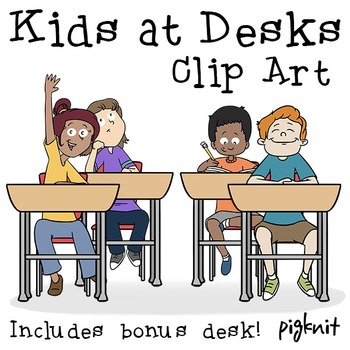 Kids Desk Clipart, School Desk Clip Art, Older Kids, Middle School, Multiracial