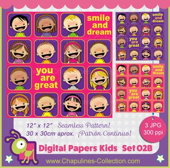 Kids Digital Paper Seamless Pattern - Smile and dream - You are Great 02 B