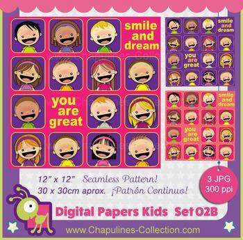 Kids Digital Paper Seamless Pattern - Smile and dream - Yo