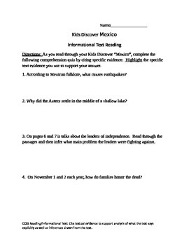 """Kids Discover """"Mexico"""" worksheet"""