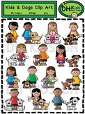 Kids & Dogs Clip Art